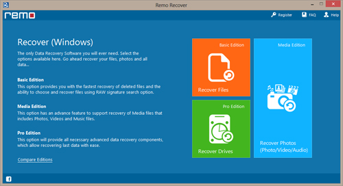 Recovery on Windows 7 - Main Screen